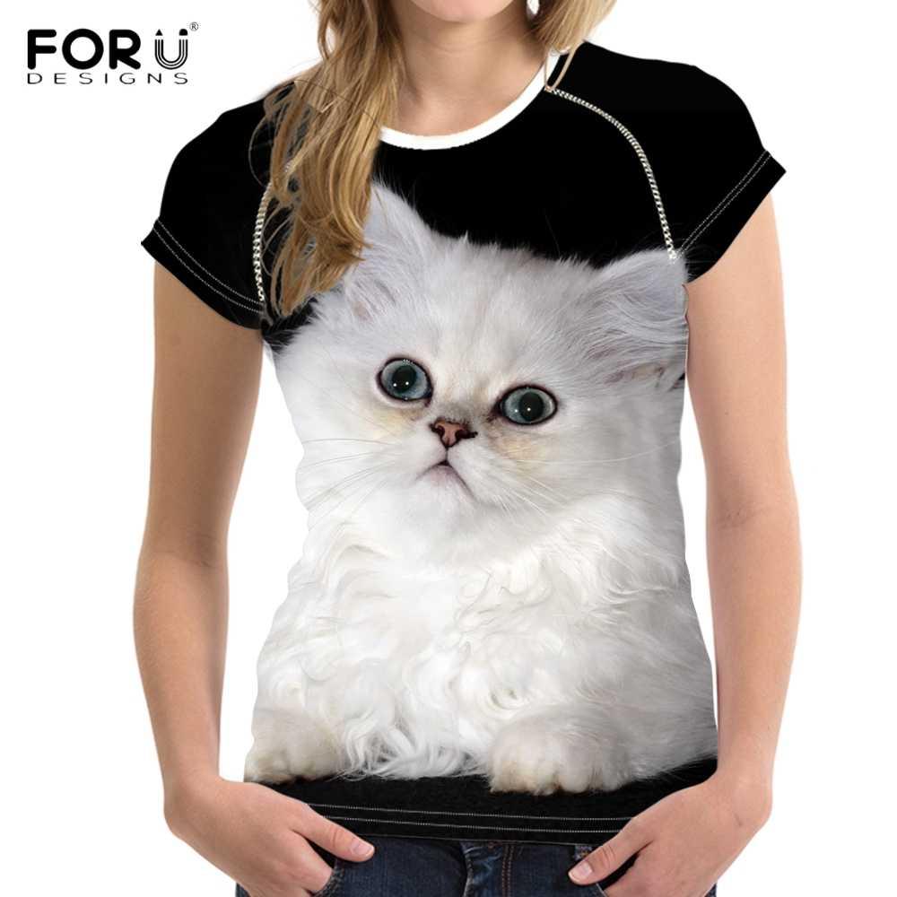 FORUDESIGNS Nette Chinchilla Katze/Devon Rex Druck Frauen Sommer T Shirts Mode Marke Kurzarm Top Tees Harajuku Mädchen t-shirt