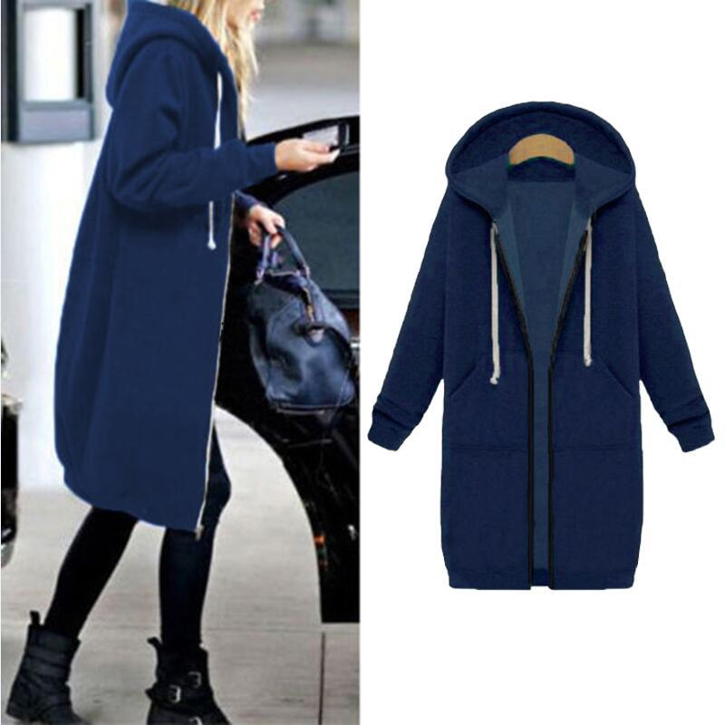 Women Warm Winter Fleece Hooded Parka Coat Overcoat Long Jacket Outwear Zipper outwear Female Hoodies S-5XL plus size sweatshirt 25