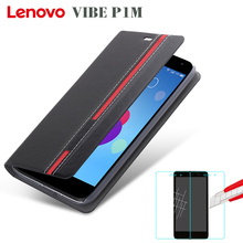 New High quality for lenovo vibe p1m Case Ultra thin Leather flip cover back case + tempered glass Film