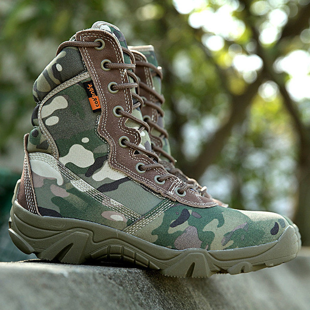 Military Men's Outdoor Jungle Camouflage Army Combat Tactical Hiking High Boots Men Breathable Canvas Boots Botas Hombre Sapatos