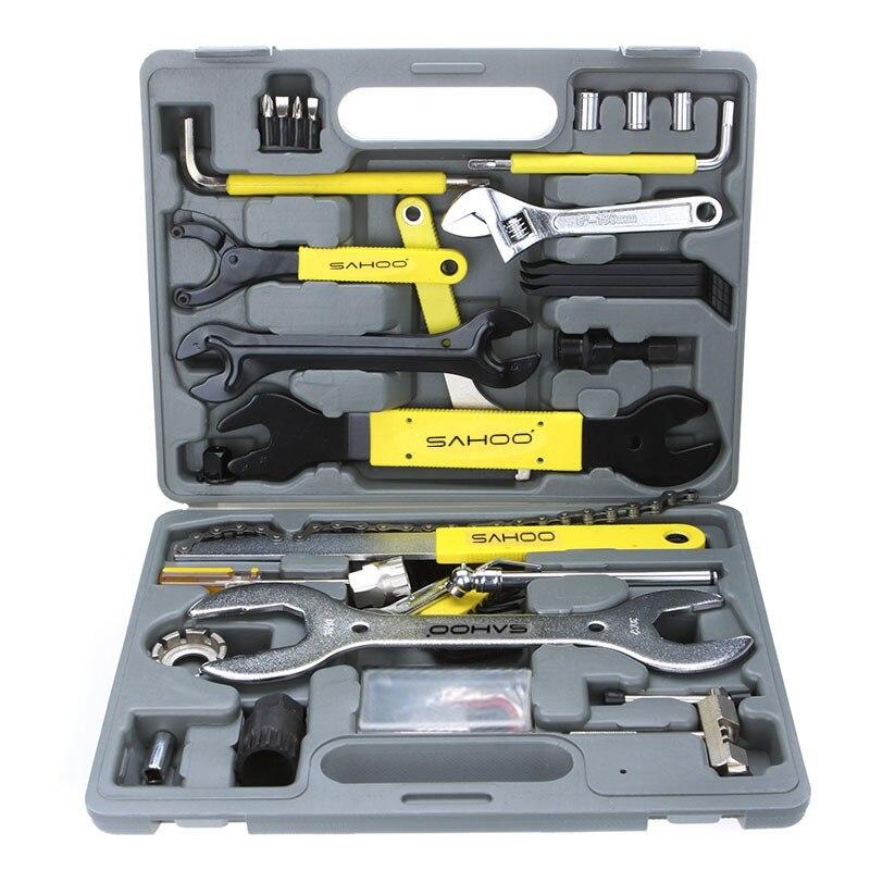 SAHOO 44 in 1 Bike Tools Bicycle Repairing Tool Set Kit Case Box Universal for Mountain