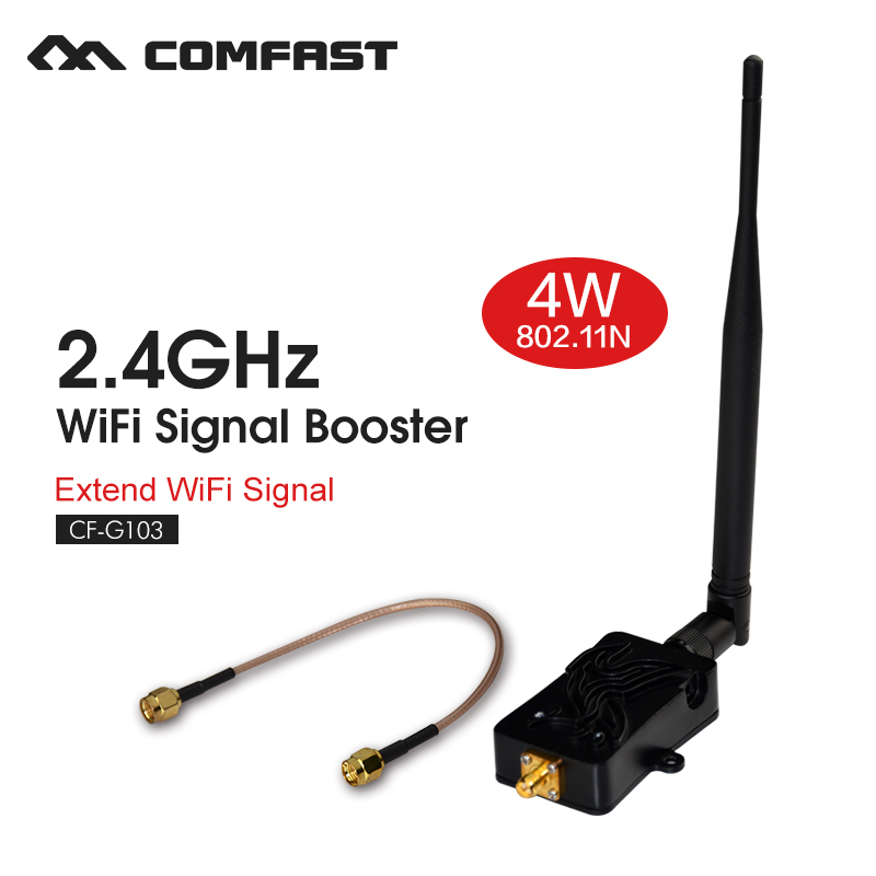 Wireless Amplifier Router 2.4Ghz WLAN Wifi signal booster 4W 4000mW 802.11b/g/n Signal Booster with Antenna for router extender удлинитель allocacoc extended remote 1 5m black 1513bk euexrm
