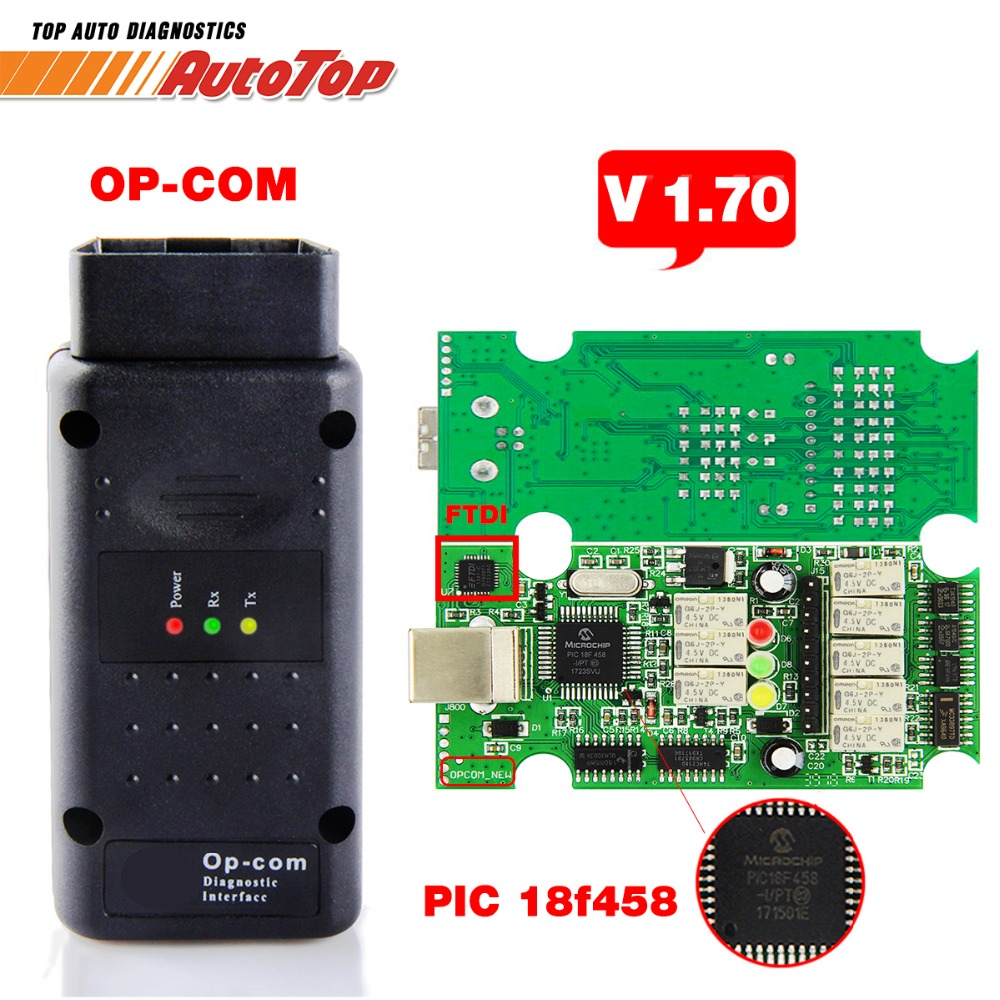 2018 OP COM V1.70 OBD2 OBD 2 Autoscanner con PIC18F458 OP-COM para Opel OPCOM para Opel auto herramienta de diagnóstico V1.7 software Libre