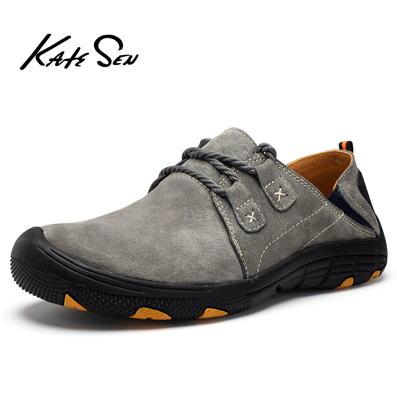KATESEN New Genuine   Leather   Casual Shoes Men Loafers   Suede   Men Shoes Breathable Outdoor Training Shoes Walking Zapatos men shoes