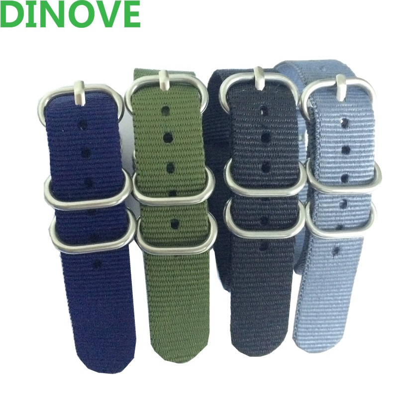 16/18/20/22/24mm Nato Zulu nylon Straps with steel buckle waterproof Green Black Navy Gray watchband sport wrist NATO watch band
