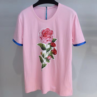 New women printed t shirts 2019 Summer pink rose shirts for women summer casual tops clothing
