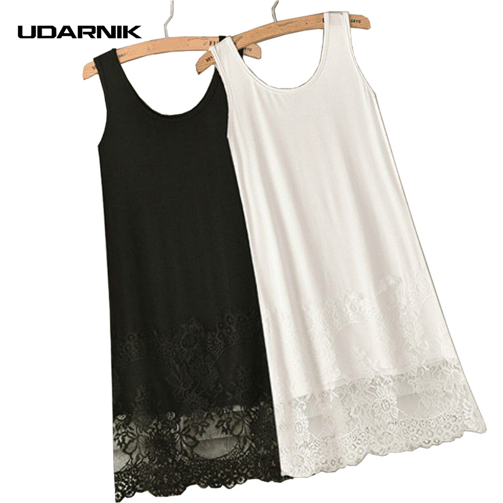 Wholesale lace shirt extender - Vest Lace Dress Render Extender Long Tank Tee Cotton Top Sleeveless Trim Layer Night Casual Wear