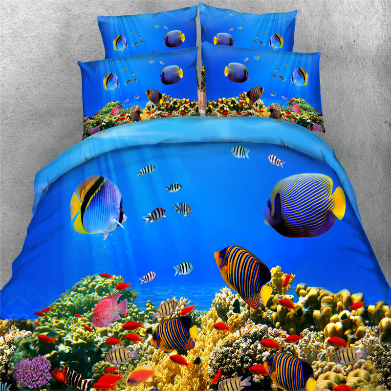 fish ocean bedding sets twin full queen king size blue sea 3/4pc 3d painting duvet cover 500tc pillowcase Kids Boys bed in a bag ...
