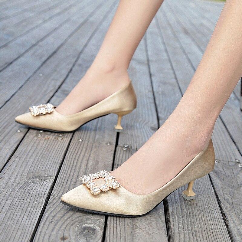 Faible 2 Cristal Arc Femmes 2018 1 3 Stilettos Pompes De Liangpian Dames Sangle Femme Chaussures Avec Mariage Boucle Dentelle Ronde Talons Haute RWrwxSqYR