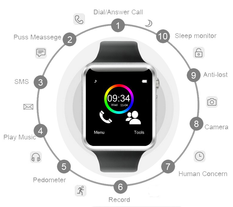 A1 WristWatch Bluetooth Smart Watch Sport Pedometer with SIM Camera Smartwatch For Android white one size 7