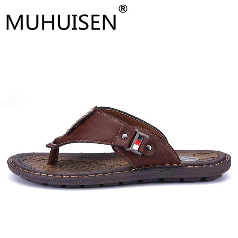 Classics Summer Shoes Men Slippers Quality Split leather Sandals For Men Comfortable Flip Flops Men Beach Sandals