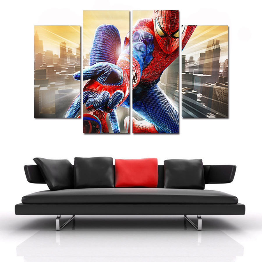 online buy wholesale spider man art from china spider man art 4 panel movie poster super hero spider man nordic wall art posters and prints modular painting
