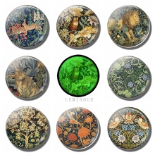 Luminous William Morris Art Animals Rabbit Bird Flower Tiger 30 MM Fridge Magnets Glass Refrigerator Magnet Glowing At Night