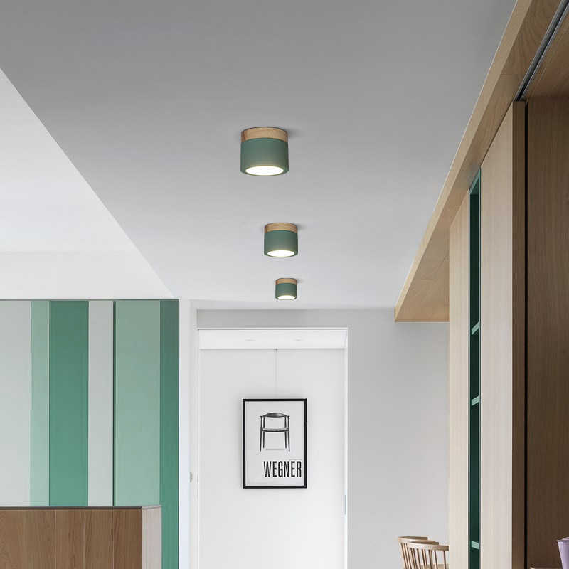 Nordic iron wood ceiling lights surface mounted modern ceiling lamp living room bedroom porch aisle corridor office light