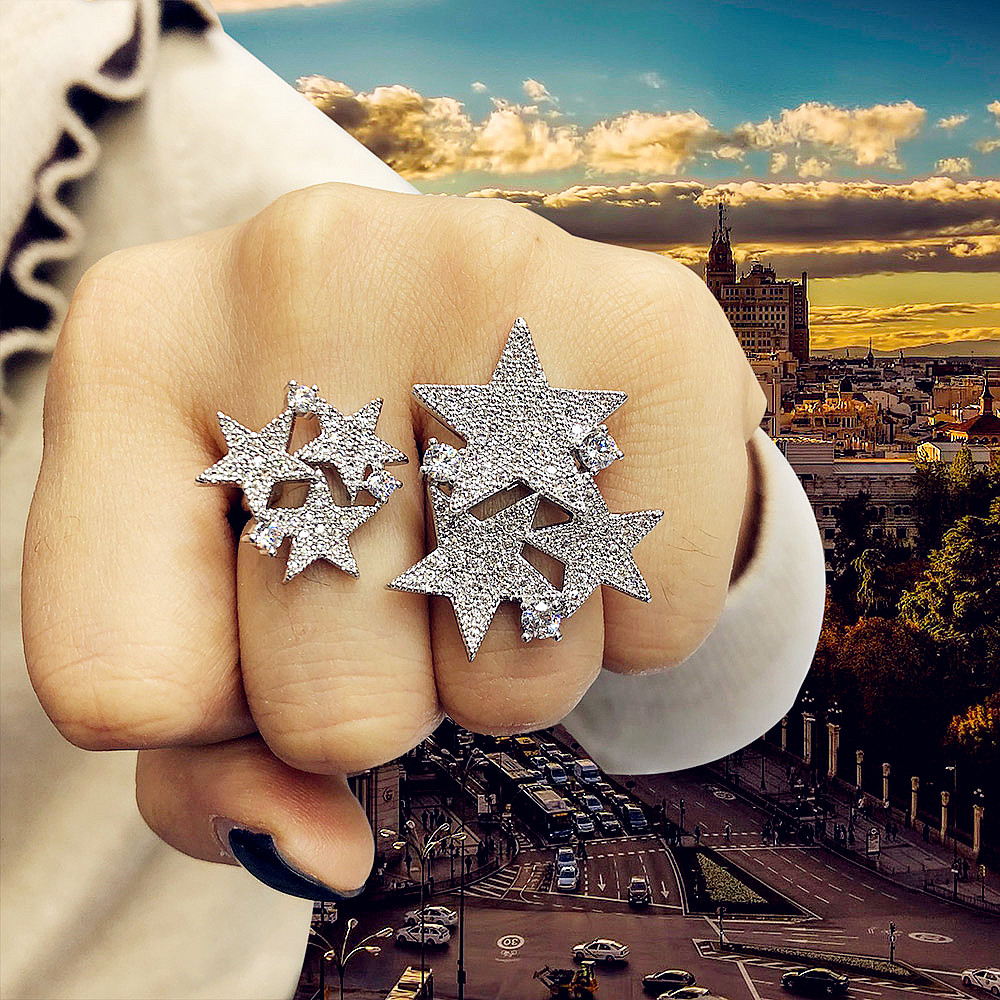 GODKI Luxury Star Cluster Cubic Zircon Wedding Rings for Women Bridal Engagement Wedding Jewelry CZ Accessories Two Finger Rings Wedding Bands     - title=