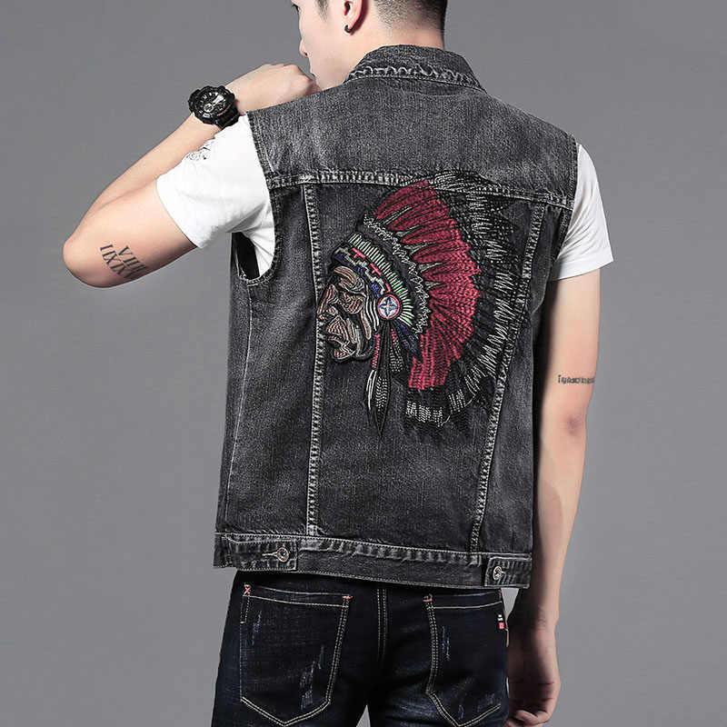 Jeans Ärmellose Jactet Mens Denim Weste Cowboy Weste Hip Hop Outwear Vintage Casual Stickerei Streetwear Punk Rock Westen