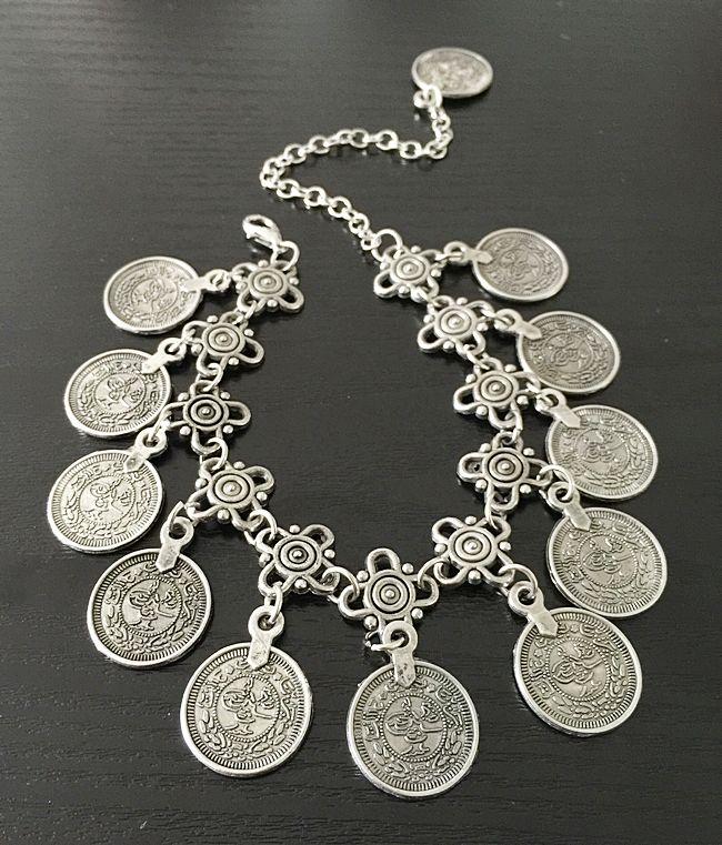 Ethnic Coin Anklet Bracelet Silver