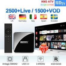 Android TV 9.0 IPTV Sweden Spain Italy Germany UK KM3 4G+64G BT Dual-Band WIFI USB3.0 IPTV Greece EX- YU Sweden Spain Italy Box