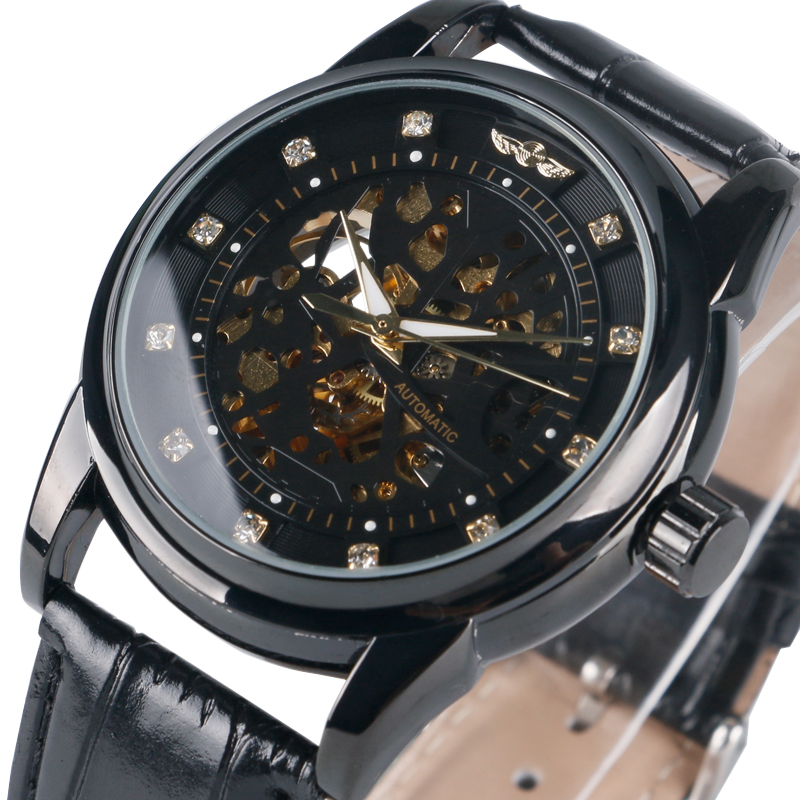 T-WINNER Fashion Skeleton Self-Wind Mechanical Wrist Watch Men Boy Automatic Mens Watches Dress Clock Gift Relogio Masculino winner fashion men s automatic mechanical watches classic concise precision male wrist watches leather watch bands gift for men