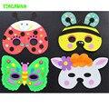 HAPPYXUAN 5pcs/lot DIY Eva Cartoon Animal Mask Kids Party Handmade Crafts Kits Frog Prince Butterfly Bee Ladybug Rabbit