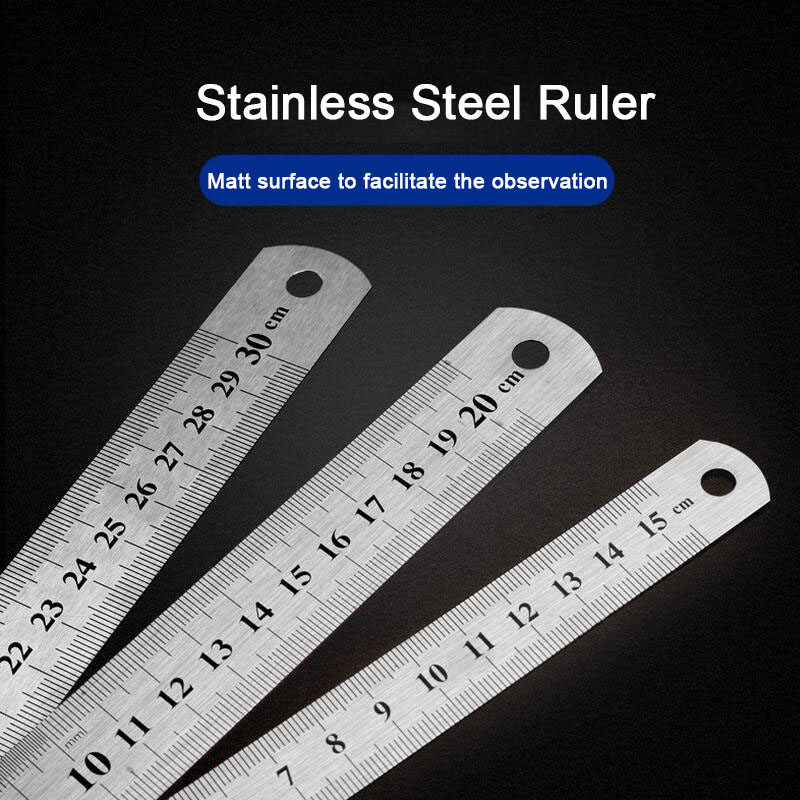 15/20/30cm Stainless Steel Metal Straight Ruler Ruler Tool Precision Double Sided Measuring Tool Sewing Foot Sewing