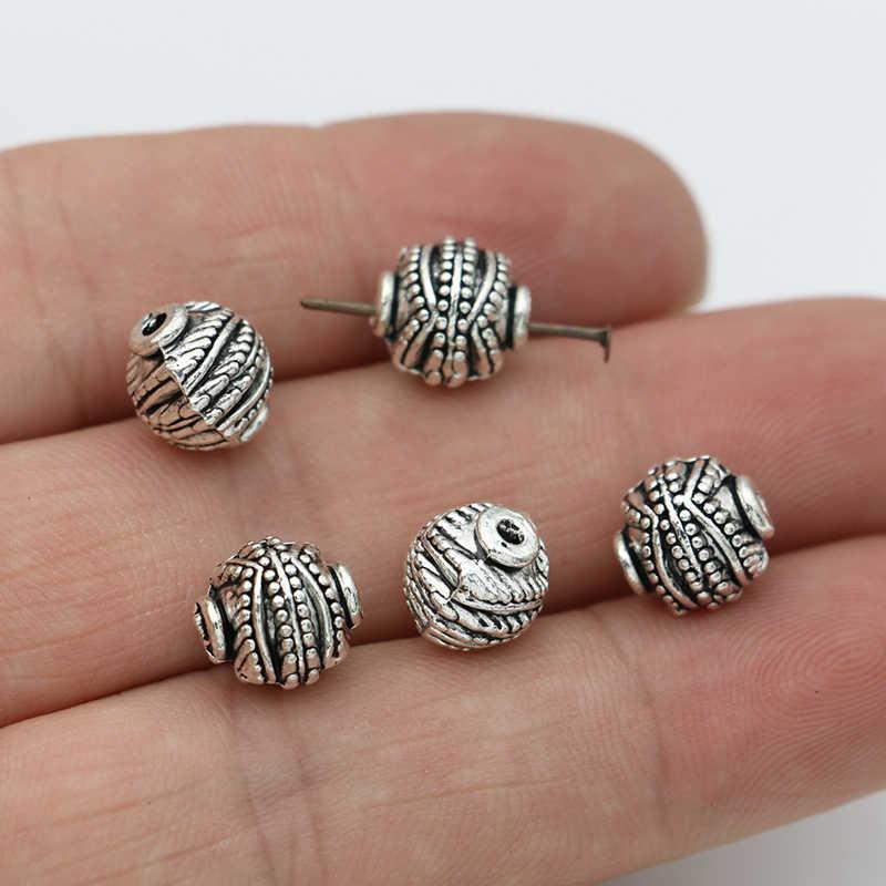 JAKONGO Antique posrebrzany okrągły Spacer koraliki Ball luźne koraliki na wyrób biżuterii bransoletka akcesoria 9x10mm 10szt