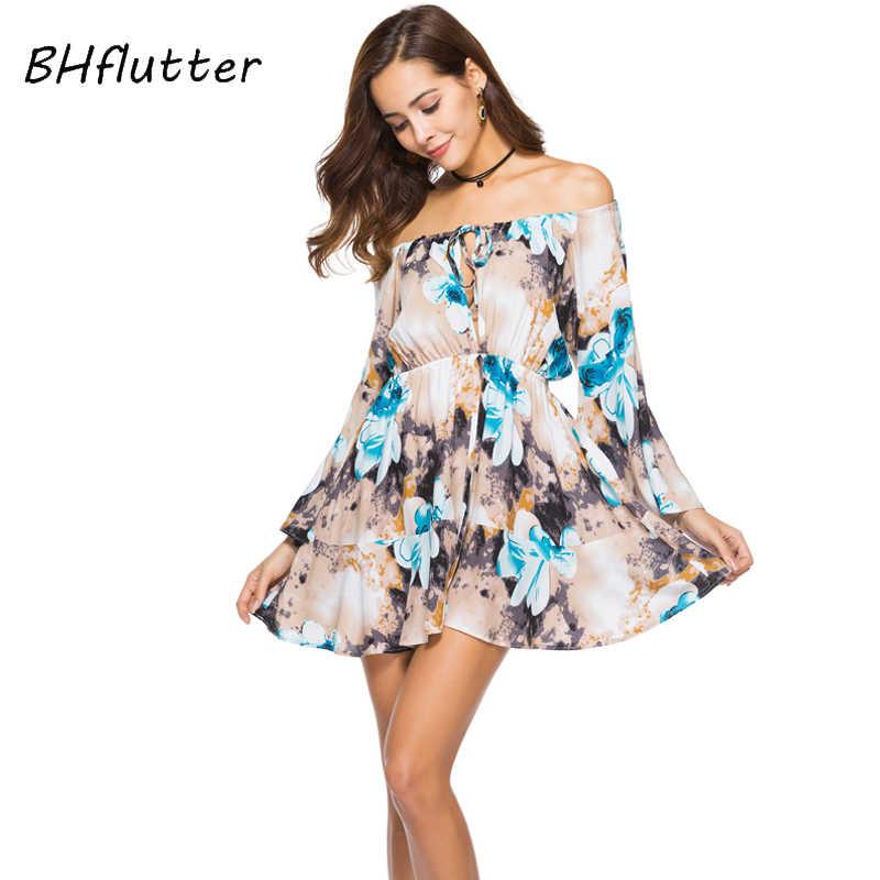 BHflutter женское платье новый стиль 2018 модное повседневное летнее платье с цветочным принтом Бохо с открытыми плечами шифоновые платья Vestidos