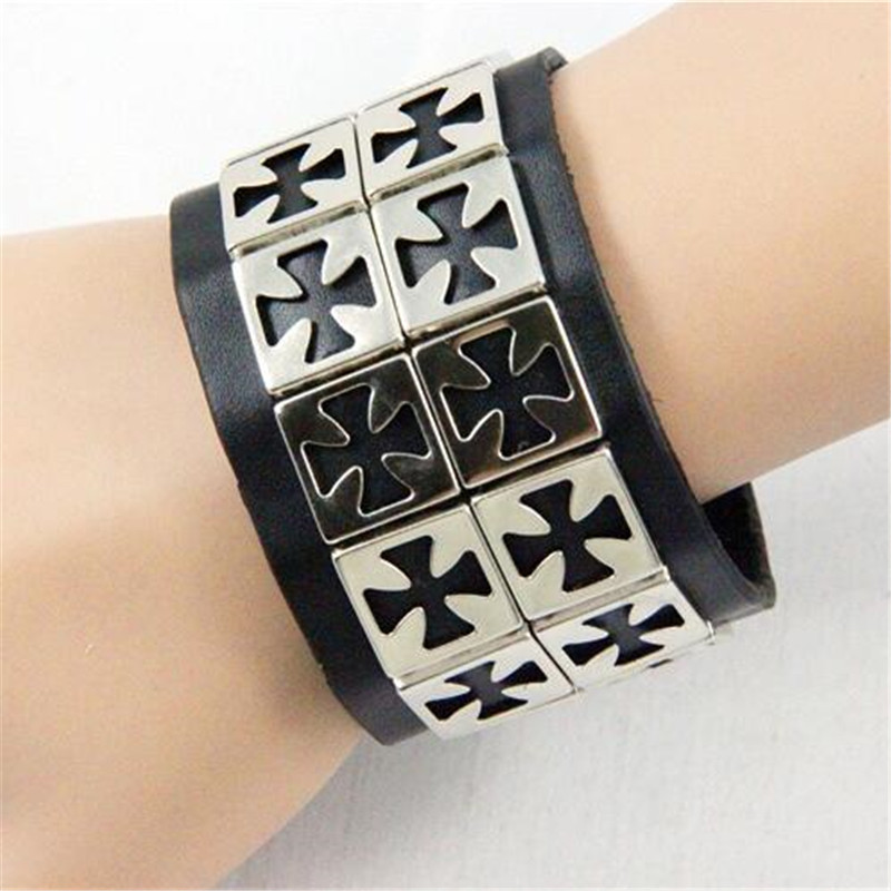 Star Love Punk Rock Templar Order Cross Cosplay Costumes Props Hand Strap Cuff Wrist Guard Middle Ages Accessories