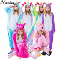 Children Adult Onesie Kigurumi Unicorn Women Costumes Pajamas Set Cosplay Cartoon Christmas Animal Sleepwear Rainbow Unicorn