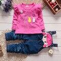 Девочки одежда наборы марка осень девушки комплект одежды младенца мультфильм майка + кошка Биб габаритные дети комплект одежды для девочек одежда