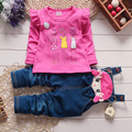 baby girls clothing sets brand autumn girls baby clothing set Cartoon t shirt+cat Bib overall kids clothing set for girl clothes