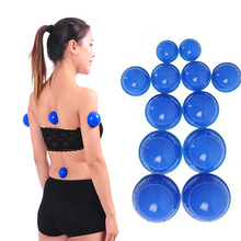 Vacuum Cans Suction Cups Massage Ventouse Anti Cellulite Cupping Set Bank For Body Physical Therapy Health Care Blue Device 12pc недорого