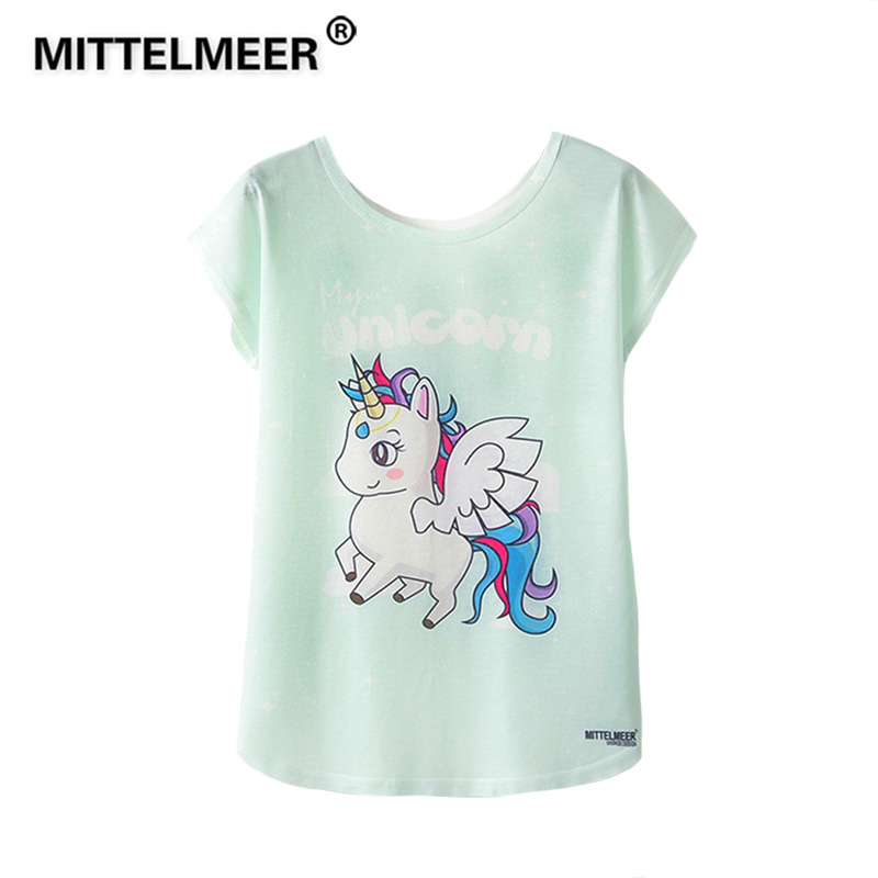 MITTELMEER 2019 Summer Harajuku kawaii t Shirt Women Girls Student Short Sleeve Cartoon unicorn panda Cactus  T-Shirts Tee BTS