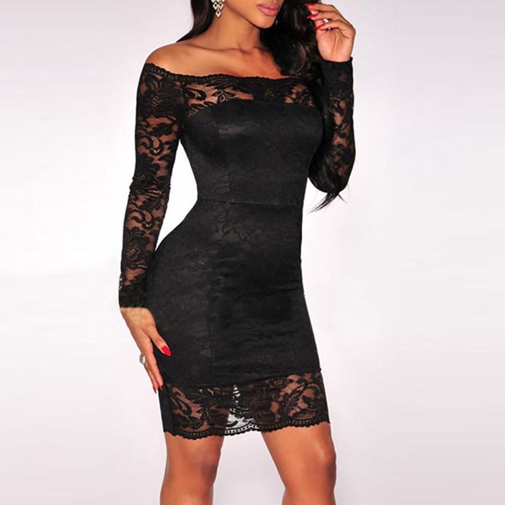 19975556d172 Slash neck Off Shoulder Lace Party Long Sleeves Evening Mini Dress ...