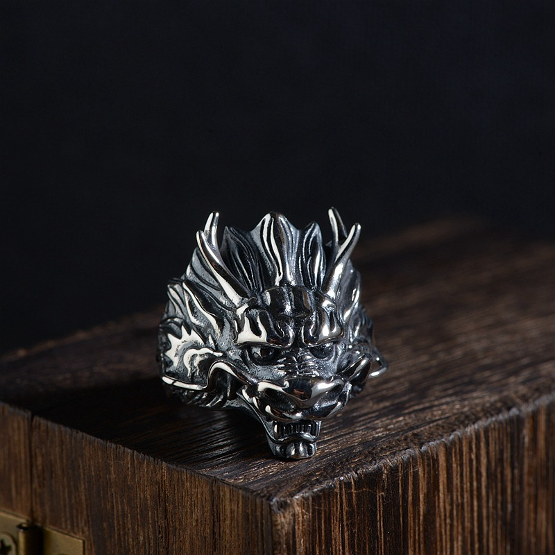 FNJ 925 Silver Dragon Ring New Fashion Animal S925 Sterling Thai Silver Rings for Men Jewelry Adjustable USA Size 8-11 цена