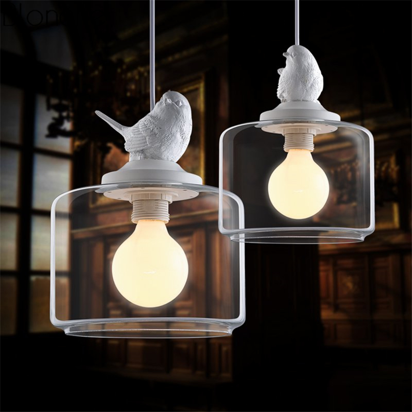 Modern Bird Glass Pendant Lights Led Hanglamp Hanging Lamp for Home Kitchen Light Fixtures Suspension Luminaire Industrial Decor