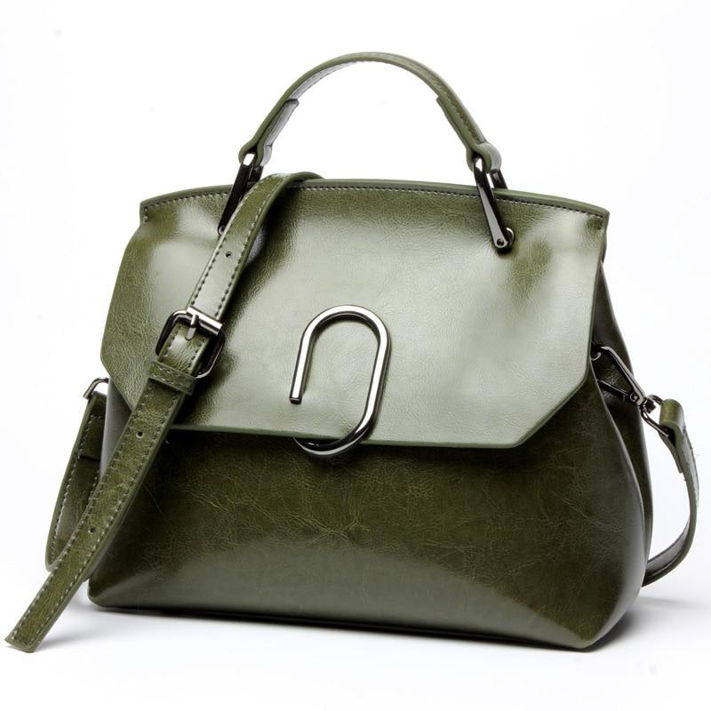 все цены на Women Shoulder Bags 2017 Fashion Women Handbags Vintage Oil Wax Genuine Leather Ladies Tote Bag Casual Crossbody Messenger Bag онлайн