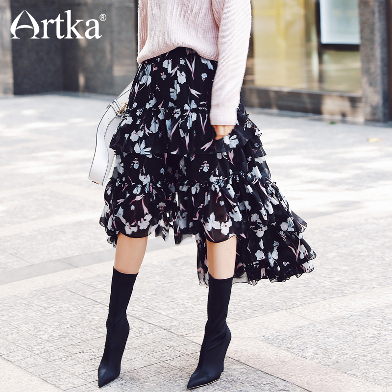 ARTKA Black Print Pattern Floral Wide Hem Long Skirt JQ17015