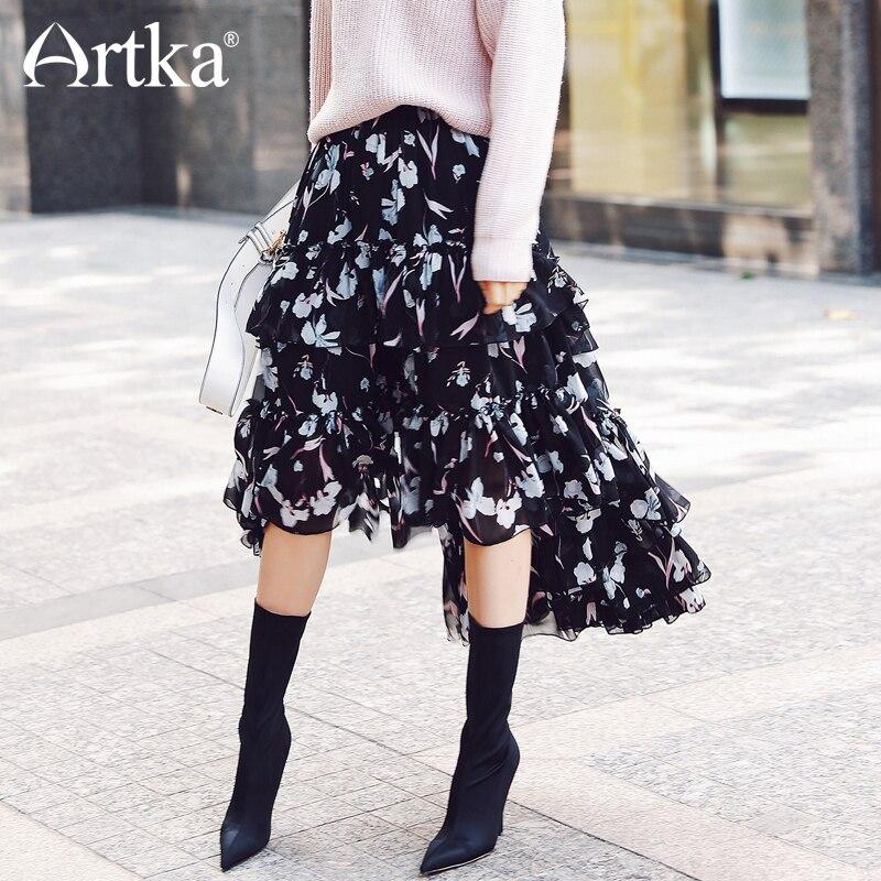 Artka 2018 новый город серии летние Винтаж Черный Принт Цветочный узор широкий подол длинная юбка JQ17015