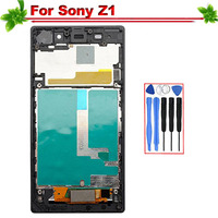 5 for Sony Xperia Z1 LCD Display Touch Screen with frame Assembly Replacement for SONY Z1 L39h C6902 C6903 C6906 C6943 Lcd