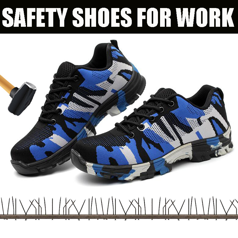 Safety Shoes Mens Steel Toe Cap Anti smashing Work shoes lightweight Breathable Mesh Construction Security Protection