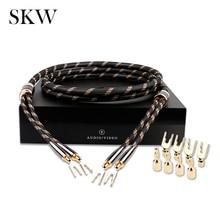 SKW HIFI Audio สาย 6N OCC กับ Spade + กล้วย Terminal Audiophile ลำโพง 2.5M 3M สำหรับเครื่องขยายเสียงโฮมเธียเตอร์มัลติมีเดีย