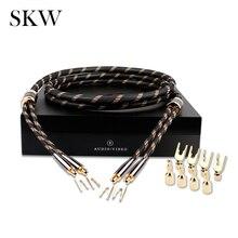 Skw cabo de áudio hifi 6n occ, cabo de áudio com spade + cabo para alto falante público, terminal de banana, 2.5m/3m para amplificador home theater multimídia