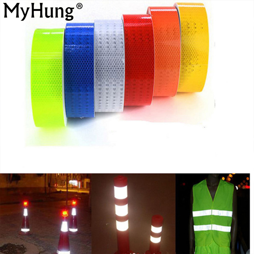 Safety Warning Tape Car DIY Styling Fluorescent Reflective Sticker 5cm*100cm Automobile luminous strip car motorcycle Decoration цена