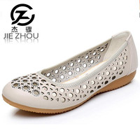 Summer Sandals Female Genuine Leather Flat Bottom Hollow Shoes Soft Bottom Mother Shoes Spring Women S