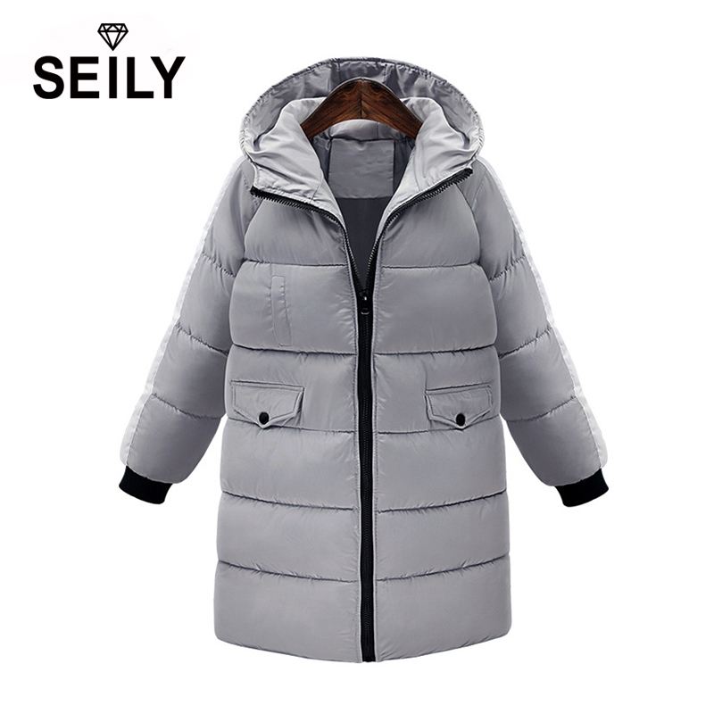 Seily 2017 New Korean Casual Plus Size Women Winter Long Thick Cotton Padded Jacket Loose Warm Coat With Hood Windproof Parka 2017 winter version of the new south korean edition of cotton dress short dress and a large size cotton padded jacket