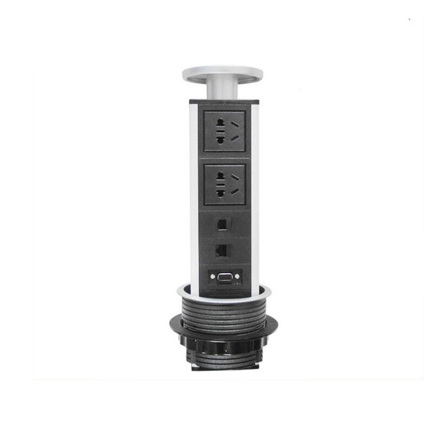 USA/UK/AU/EU Plug Pulling UP Desktop 2 CN Sockets +1 Telephone Ports+1 RJ45 Network+1VGA Function Socket For office Bar home