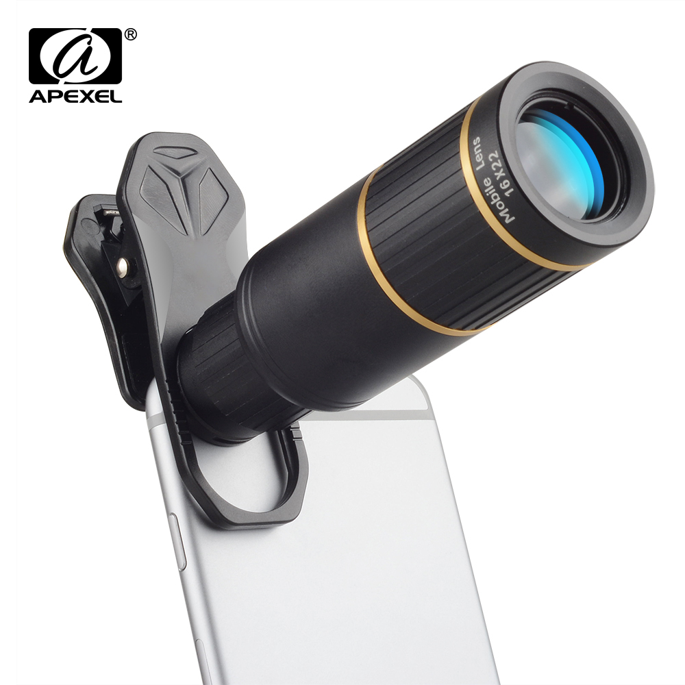 APEXEL Mobile Phone Lens 16X Telescope Zoom 16x22 Smartphone universal clip Camera Lens for iPhone x Samsung Xiaomi Huawei Lens smartphone