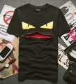 2015 NEW Top hip-hop FEND small eye zipper mouth t-shirt cotton tshirt lover short sleeve casual t shirt brand tag label T336