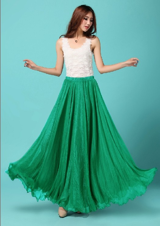 c6d34c08e8 Emerald Green Long Chiffon Maxi Skirt Ladies Silk Chiffon Plus Sizes  Lightweight Sundress Holiday Beach Skirt Maxi -in Skirts from Women s  Clothing on ...